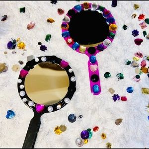Embellished Pink Dual Sided Mirror